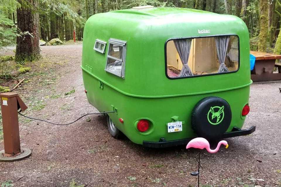The Green Hornet (Boler 13 ' fiberglass lightweight trailer) in New-Westminster, British Columbia